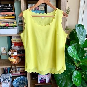Nordstrom Scallop Edged Yellow Tank Top
